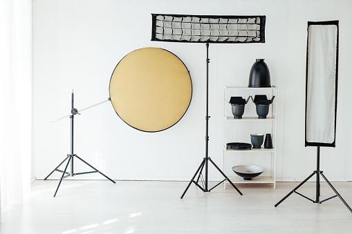 istock Photo studio equipment flash accessories professional photographer 1218974261