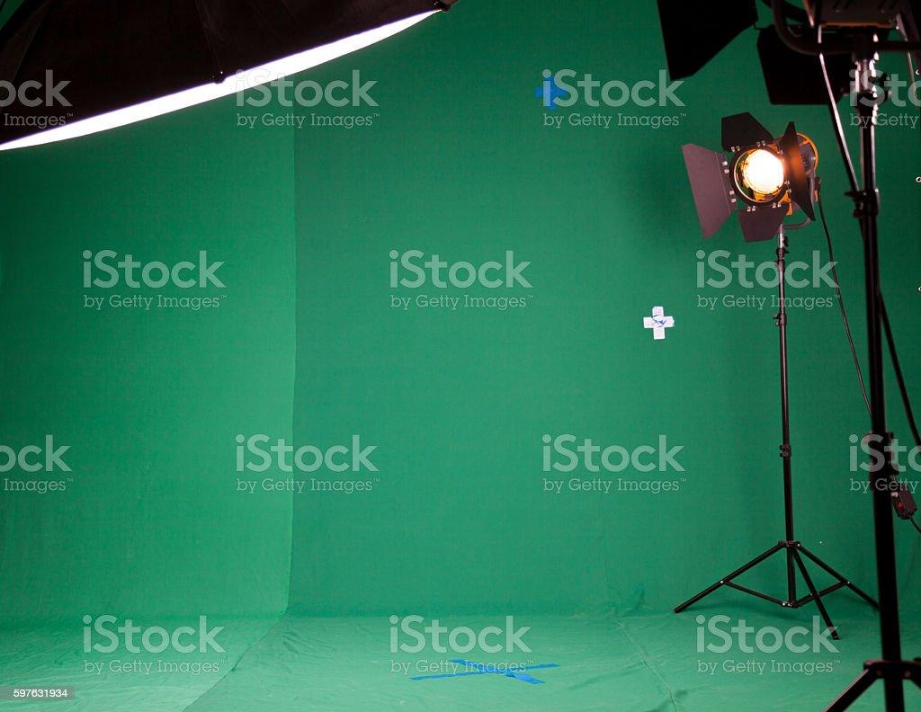 Photo Studio for the filming of chroma key stock photo