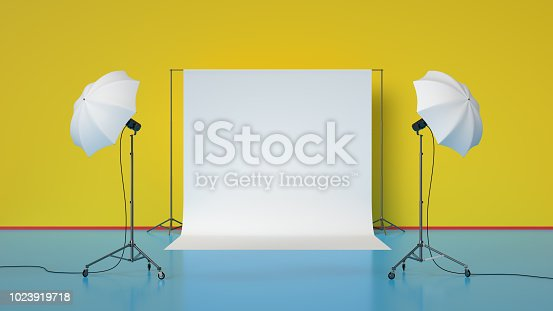 3d rendering of photo studio with lights.