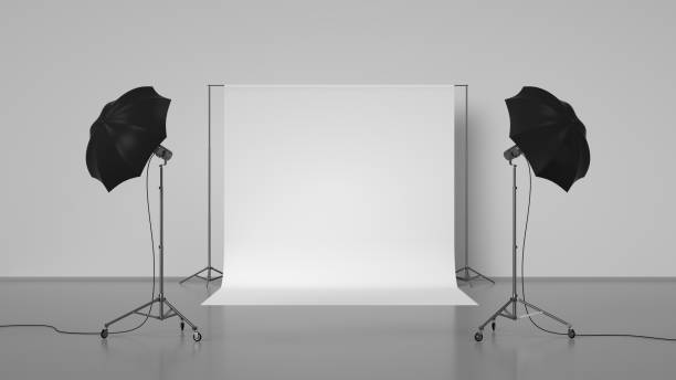 Photo Studio 3d rendering of photo studio with lights. studio stock pictures, royalty-free photos & images