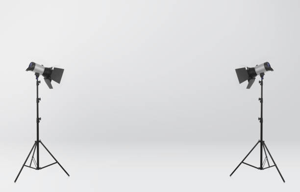 Photo studio Studio lights on white background studio stock pictures, royalty-free photos & images