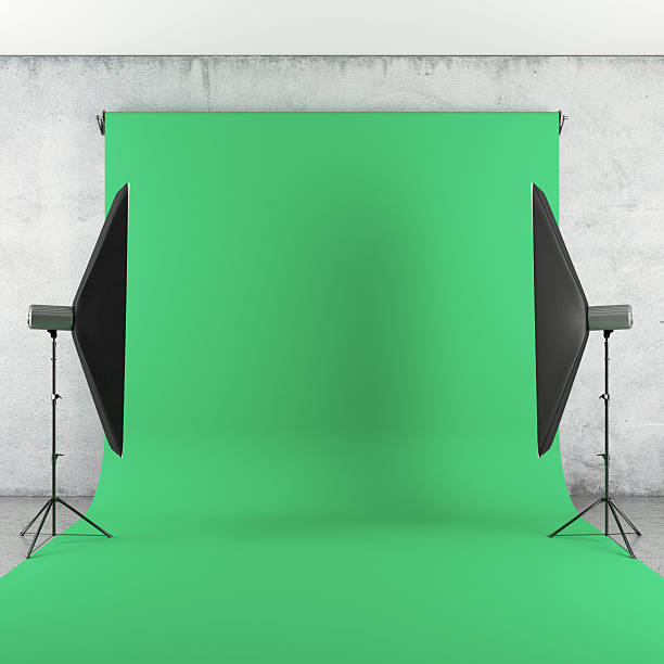 photo studio with lights and green backdrop - green screen background stock photos and pictures