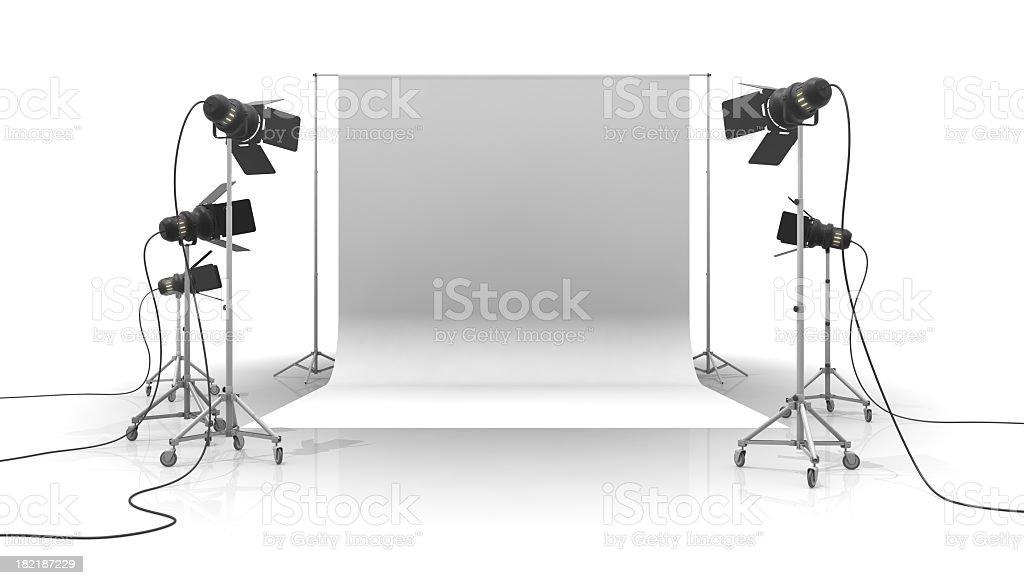 A photo studio with white background stock photo