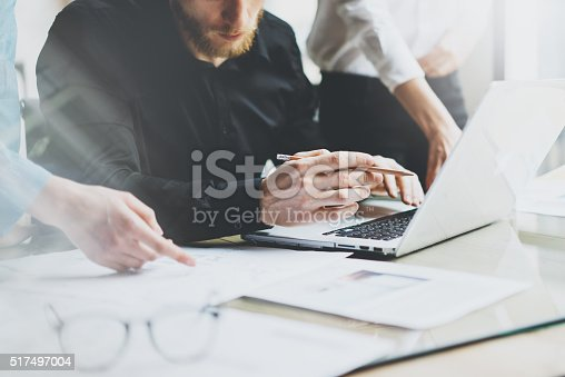 istock Photo talented designers crew working with new startup project in 517497004