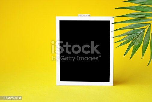 1183352589 istock photo Photo template. Empty blank of instant photo on yellow background with palm leaves. Ready to put image template. Copy space. 1203250125