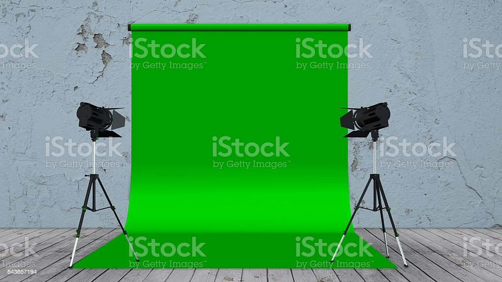 Photo / Video Studio with Green Screen and Light Equipment stock photo