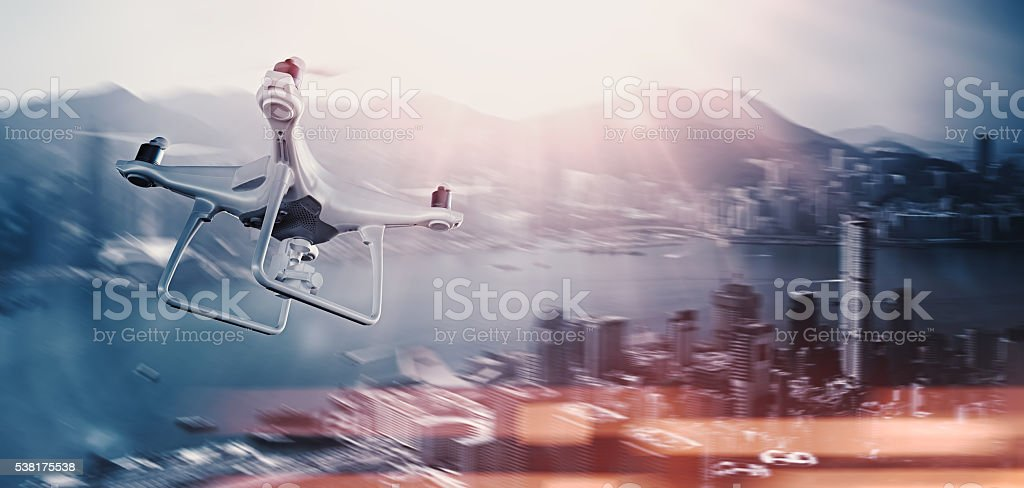 Photo White Matte Generic Design Remote Control Air Drone with stock photo