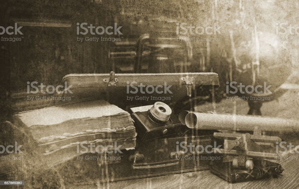 Photo with aged effect Vintage Traveller items stock photo