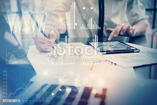 istock Photo working process. Account manager work new global project in 522303674