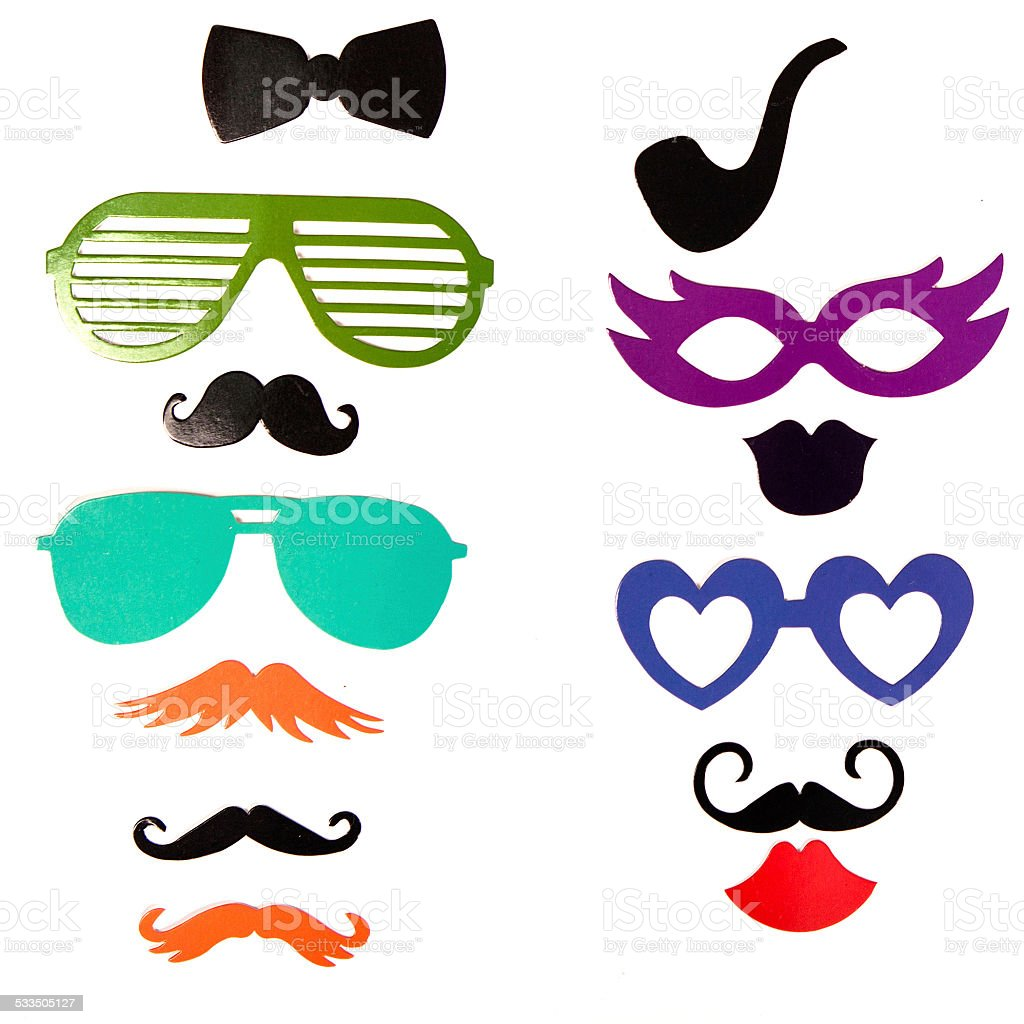 Photobooth Birthday and Party Set - glasses, hats, crowns, masks, stock photo