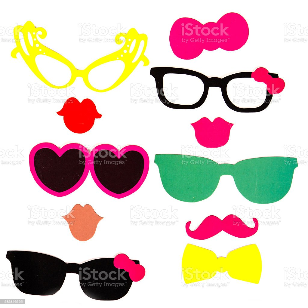 Photobooth Birthday and Party Set - glasses, hats, crowns, masks stock photo