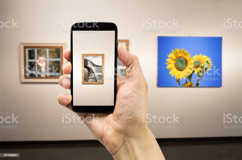 photograph a painting stock photo