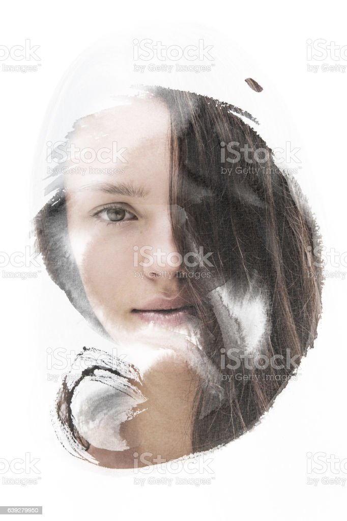 Photograph combined with painting stock photo