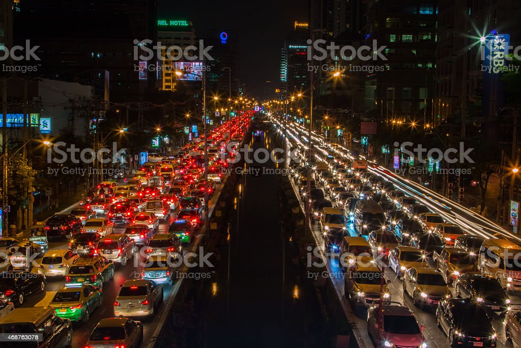 Photograph of a big city traffic jam stock photo
