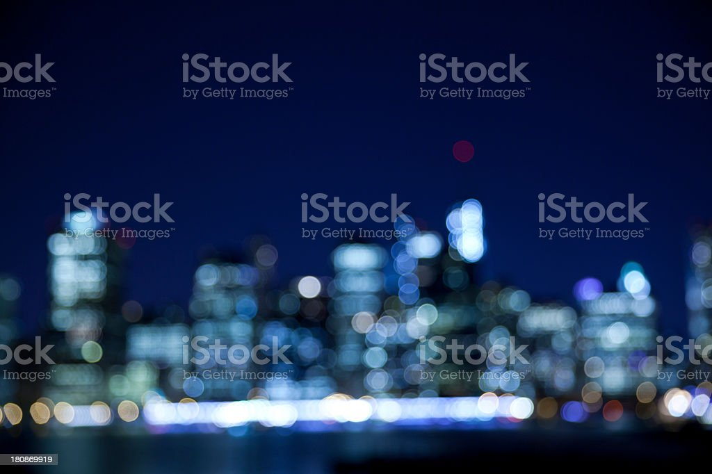 Photograph of a blurred cityscape at night royalty-free stock photo