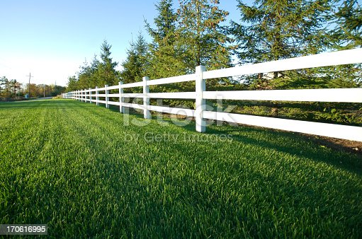 White fence with grass on a sunny afternoon.
