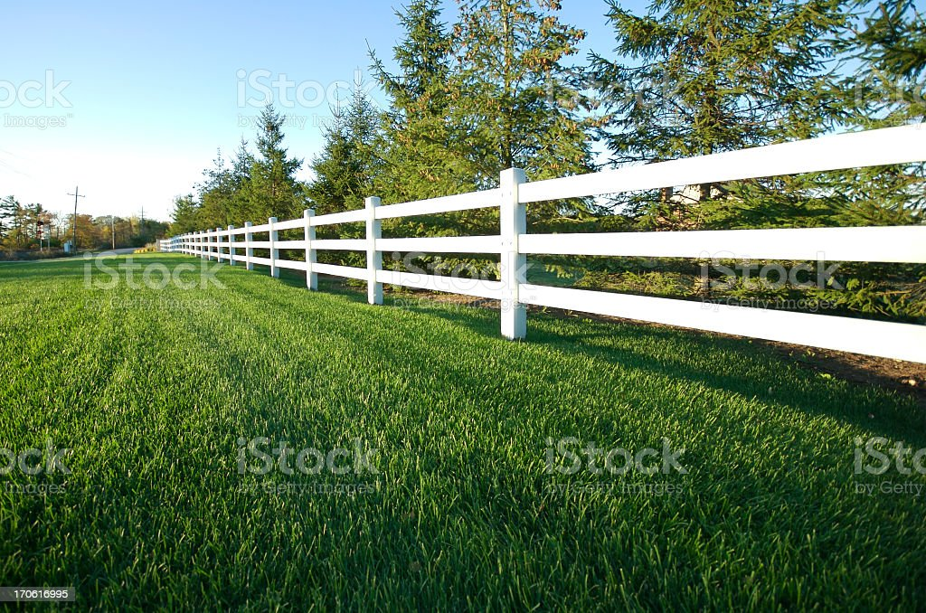 Photograph of a picket white fence stock photo