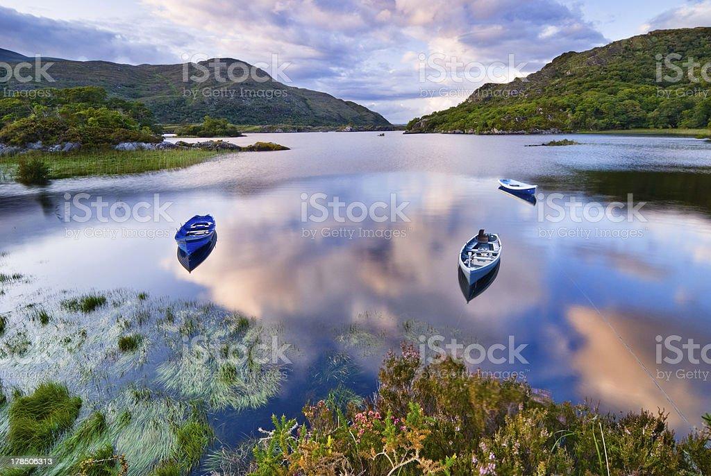 Photograph of a serene lake in Killarney stock photo