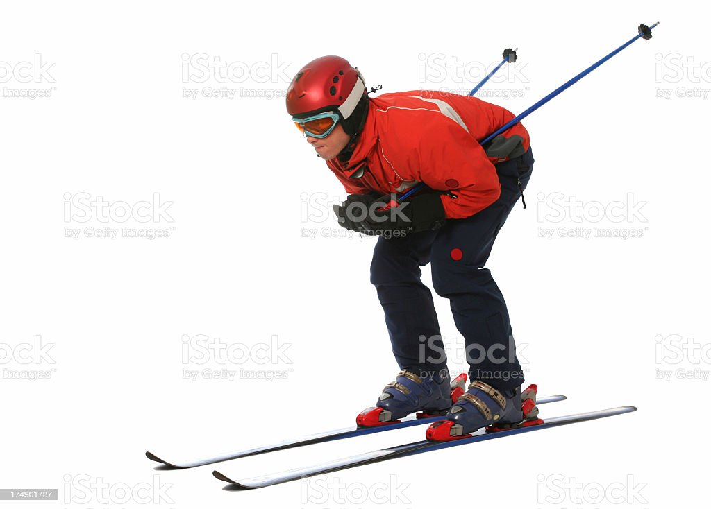 Photograph of a skier isolated on white background stock photo