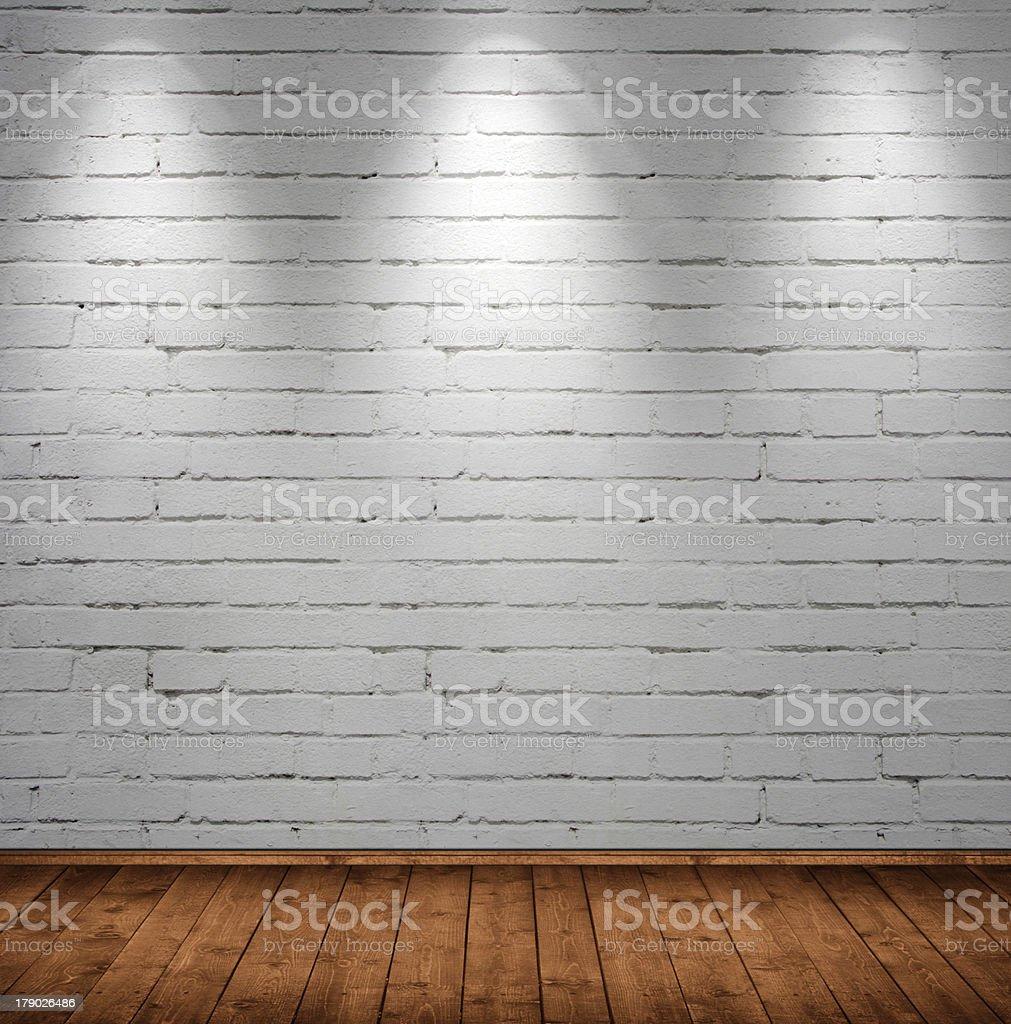 Photograph of an interior room wall made of brick stock photo