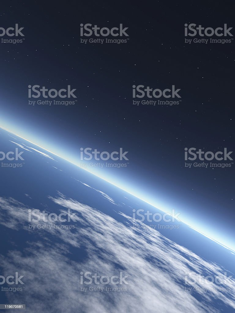 Photograph of an ocean on earth from outer space royalty-free stock photo
