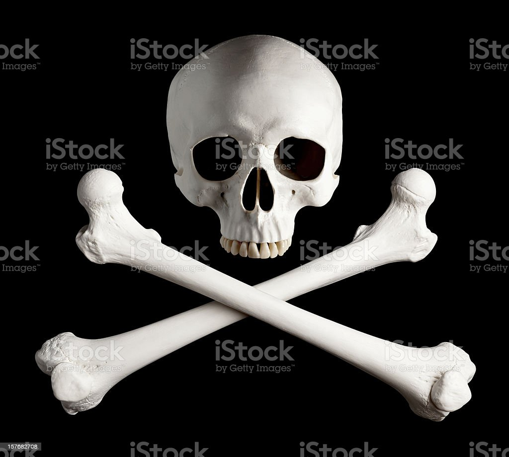 Photograph of Classic Pirate Skull and Crossbones. stock photo