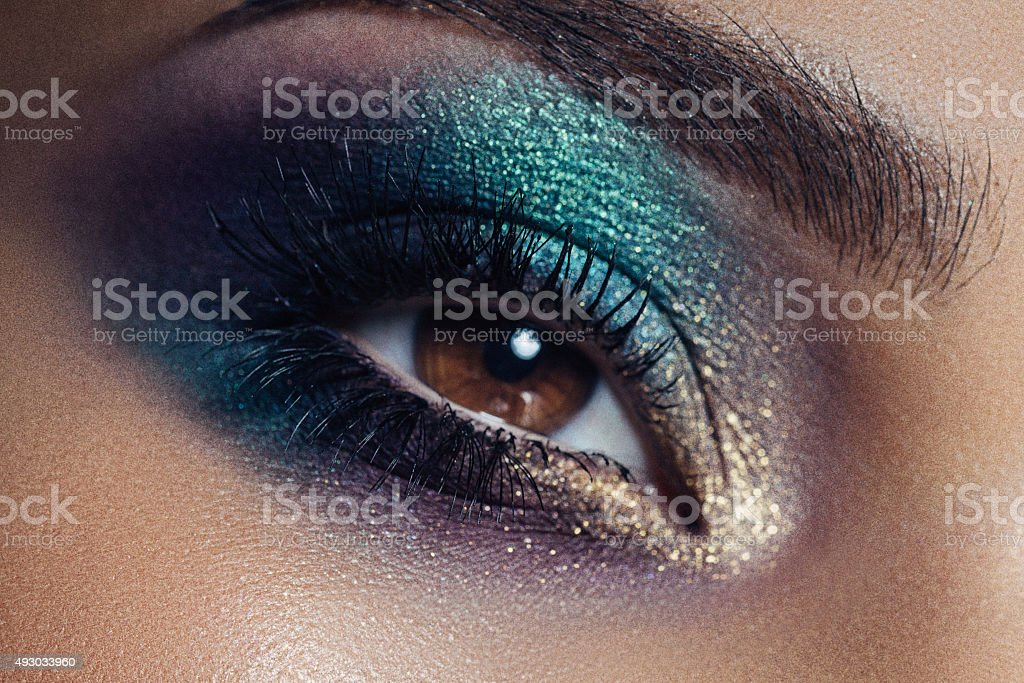 Photograph of eye with professional make up stock photo