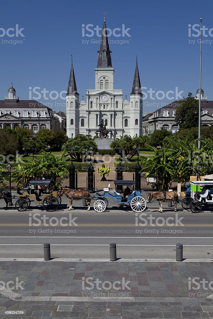 A photograph of Jackson Square with a road in front of it  stock photo