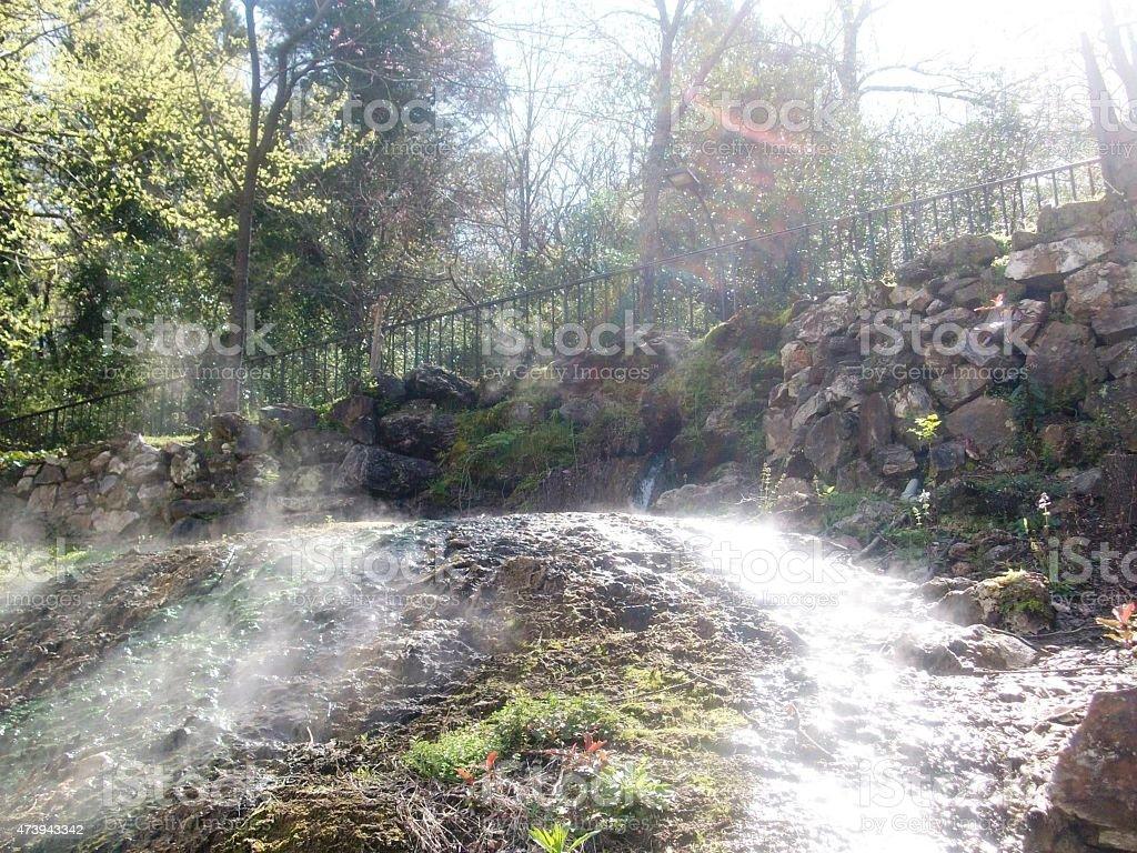 Photograph of natural hot springs stock photo