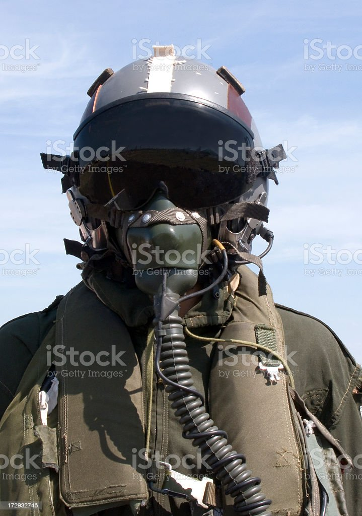 Photograph of pilot in full gear stock photo