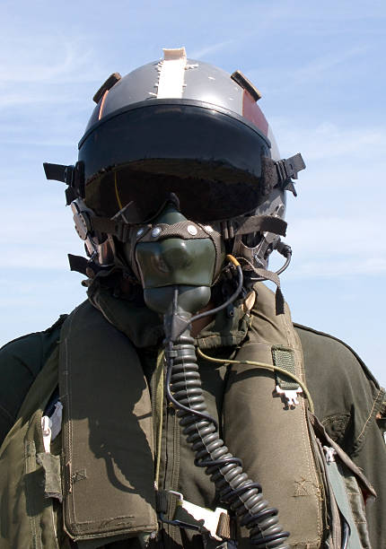 Photograph of pilot in full gear Pilot helmet air force stock pictures, royalty-free photos & images