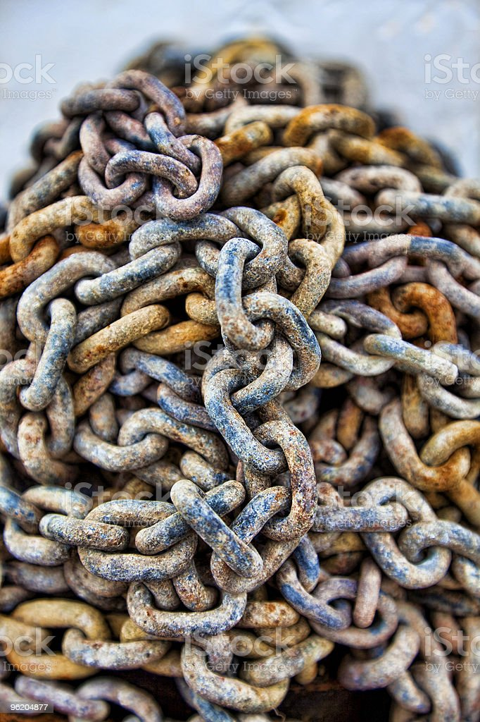 HDR Photograph of Rusty Chains royalty-free stock photo