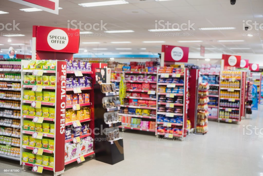 Photograph of shelves with promotions stock photo