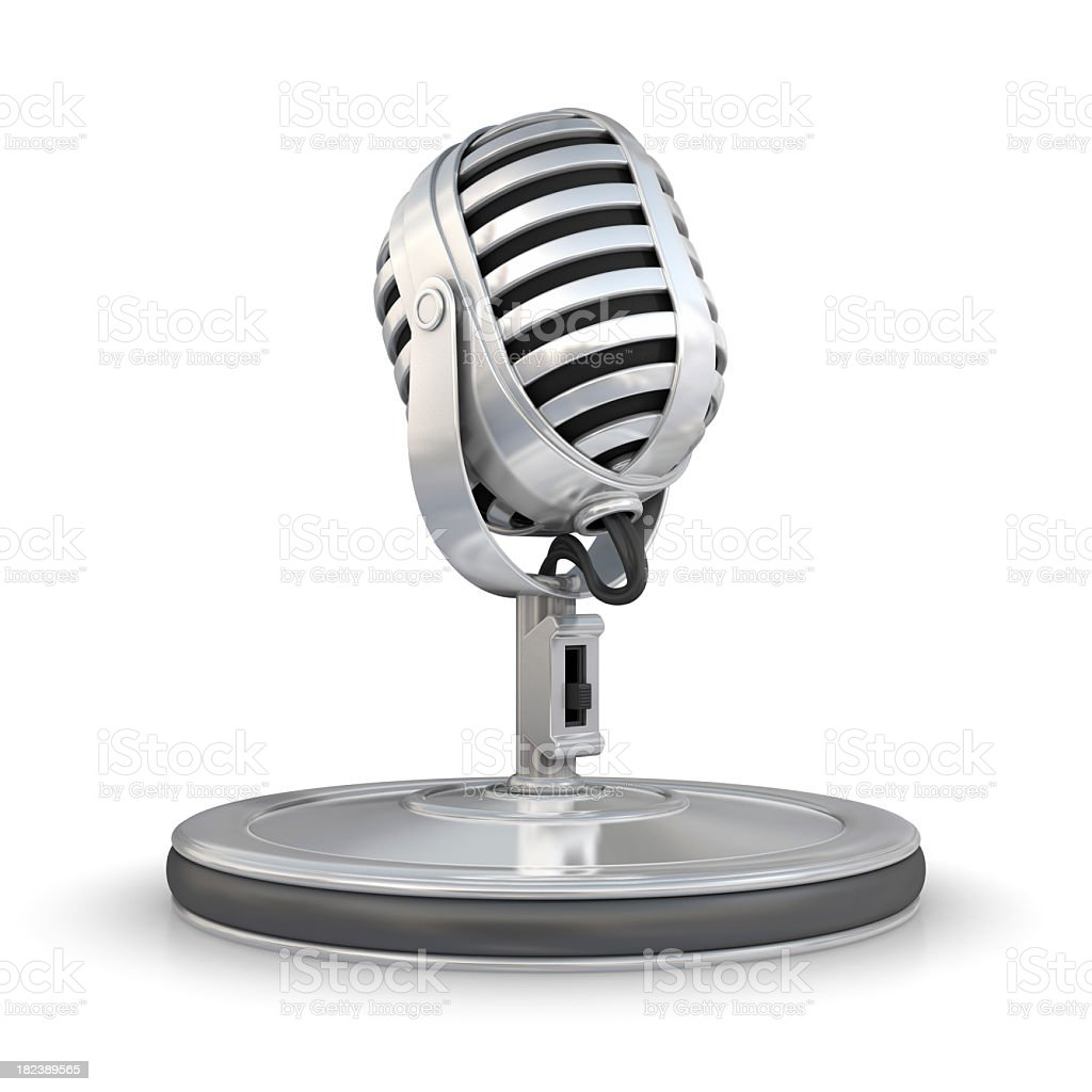 Photograph of silver microphone graphic stock photo