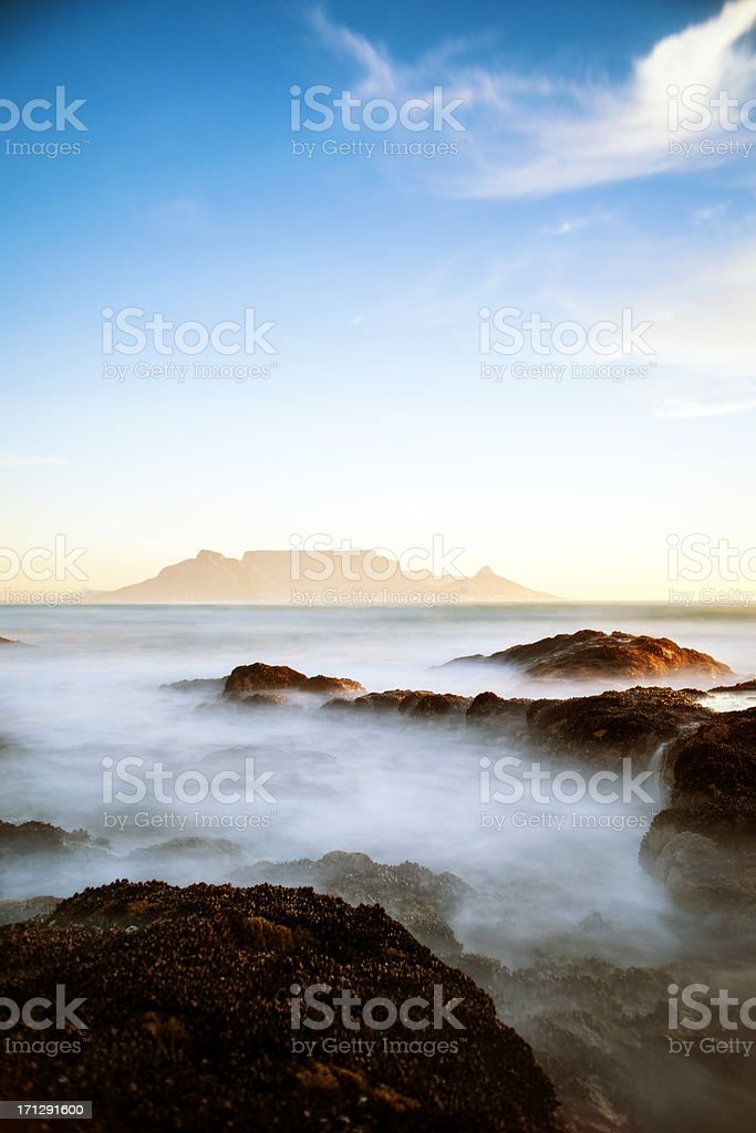 A photograph of Table Mountain in South Africa. stock photo