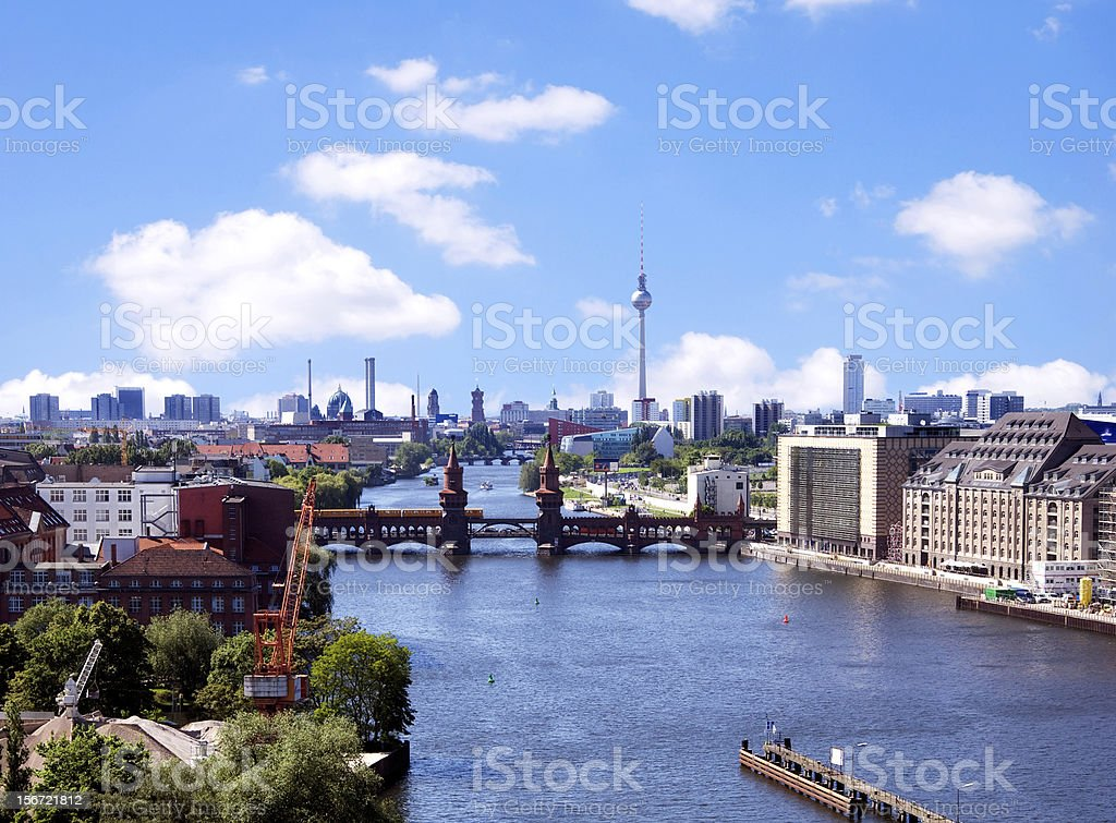 Photograph of the Berlin skyline, river and bridge stock photo