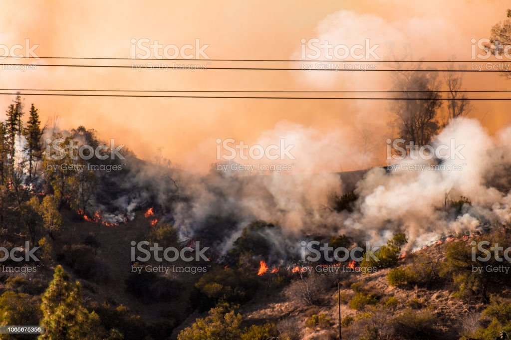 Photograph of the Griffith Park brush wildfire and the Woolsey fire in California royalty-free stock photo