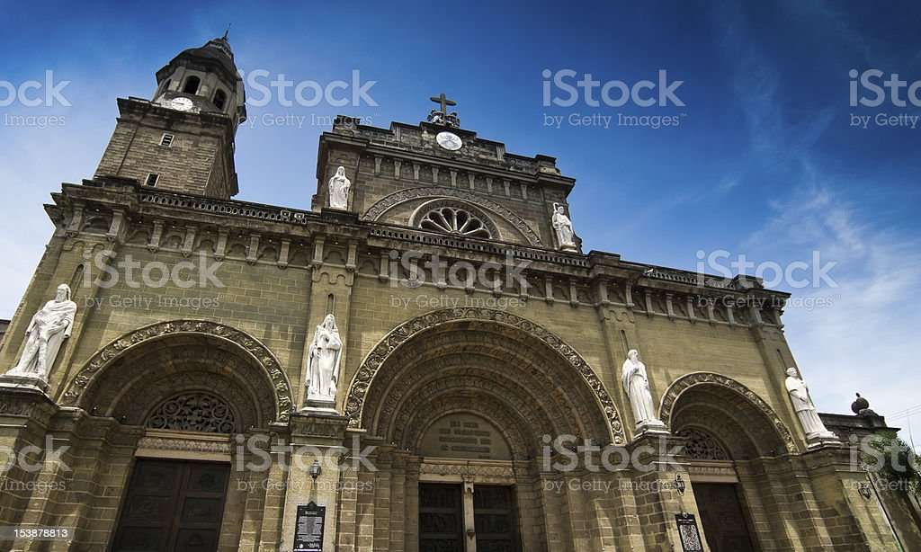 Photograph of the Manila cathedral with statues royalty-free stock photo