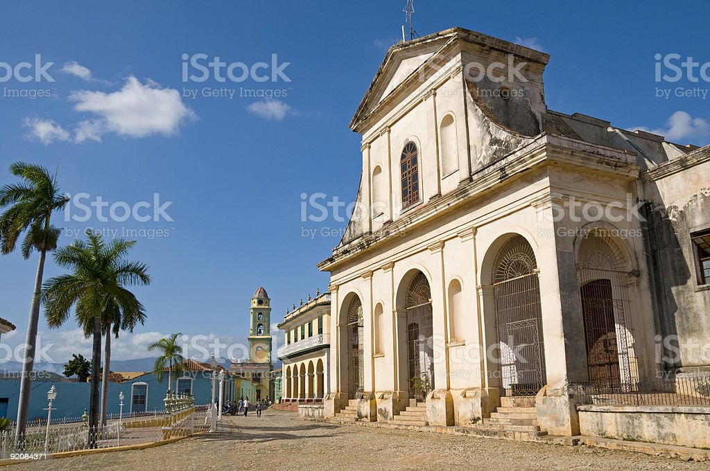 A photograph of the Santisima Church in Trinidad, Cuba stock photo