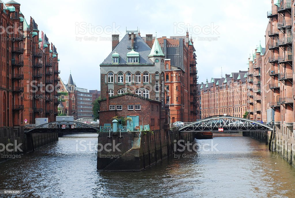 Photograph of The Speicherstadt in Hamburg, Germany royalty-free stock photo