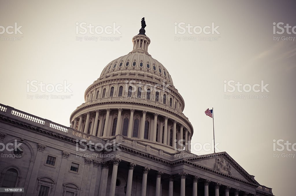 Photograph of the United States Capitol stock photo