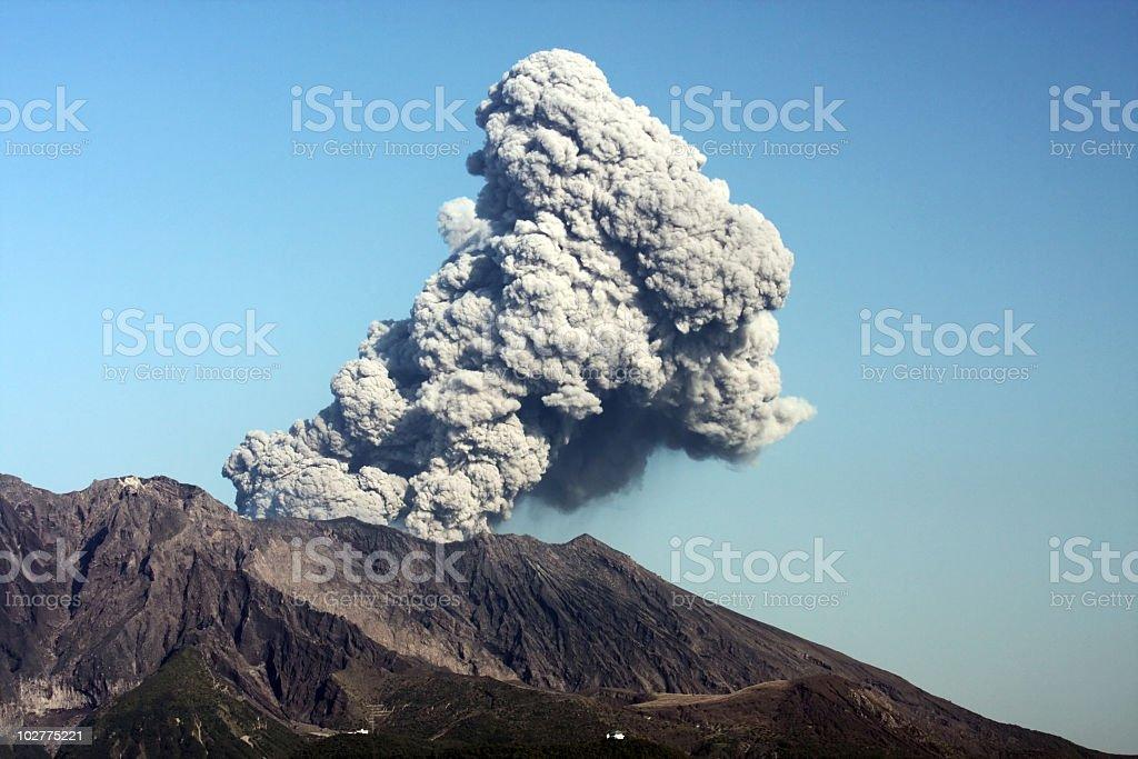 A photograph of the volcanic eruption of Sakurajima volcano royalty-free stock photo