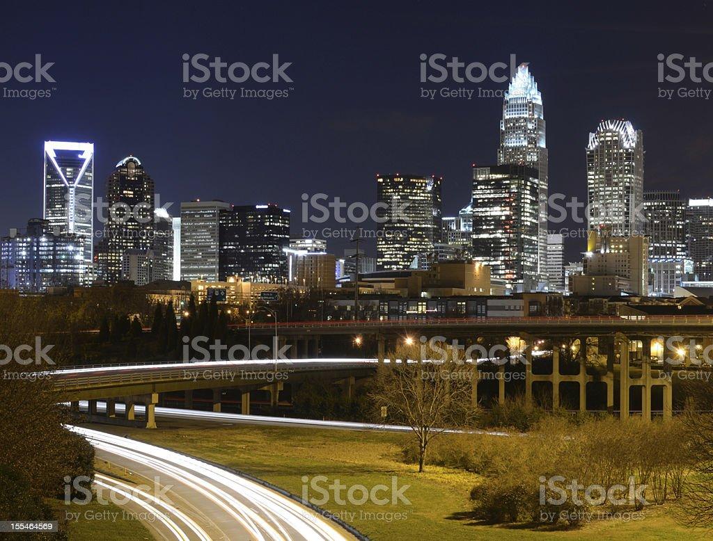 Photograph of uptown Charlotte, North Carolina at night royalty-free stock photo