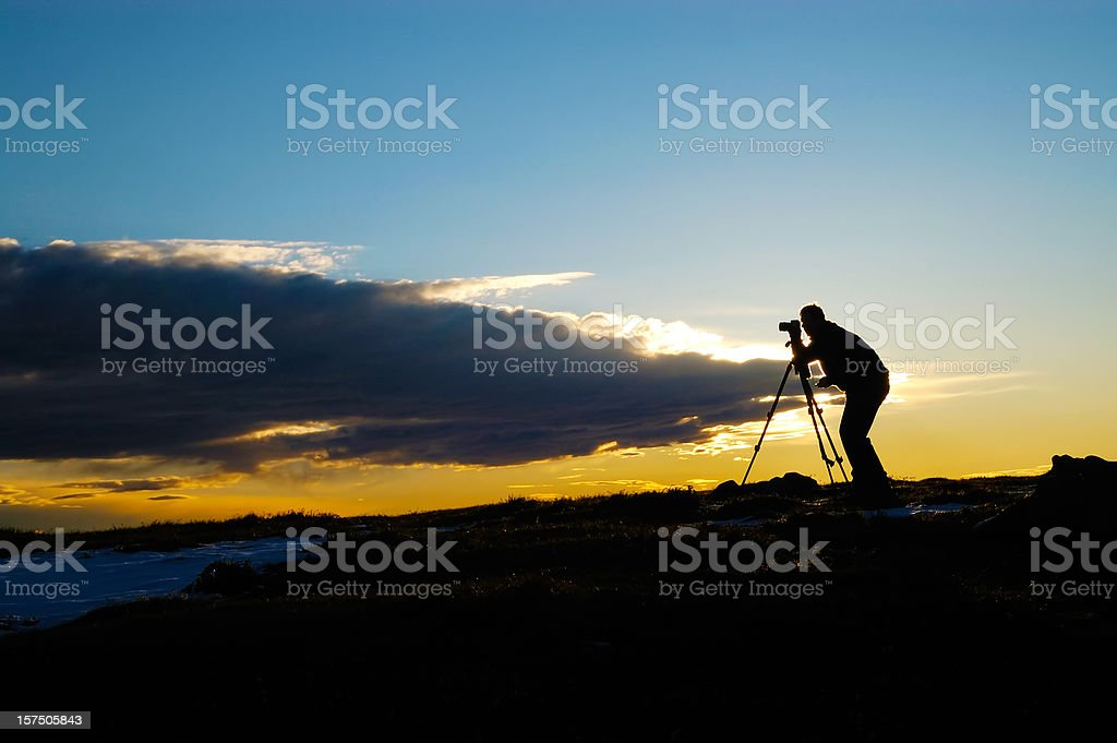 Photographer at dawn royalty-free stock photo