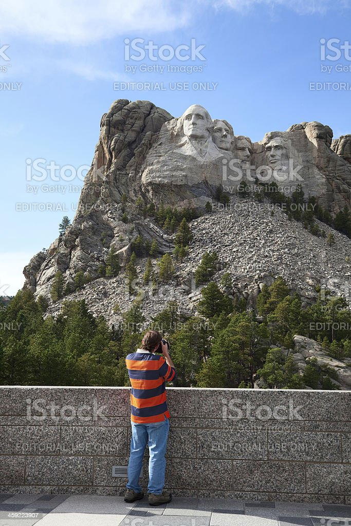 Photographer at Mount Rushmore stock photo