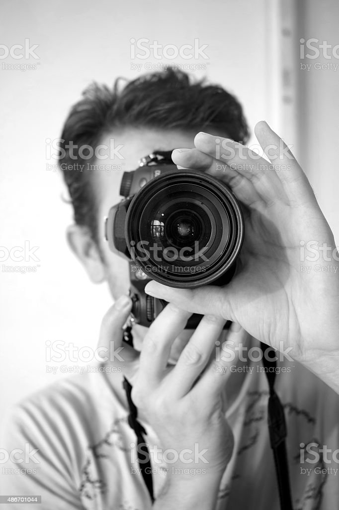 Photographer Black And White Filter Vertical stock photo