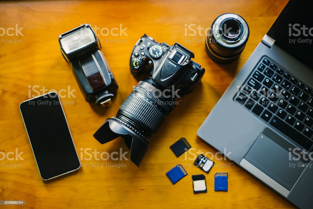 Photographer desk stock photo