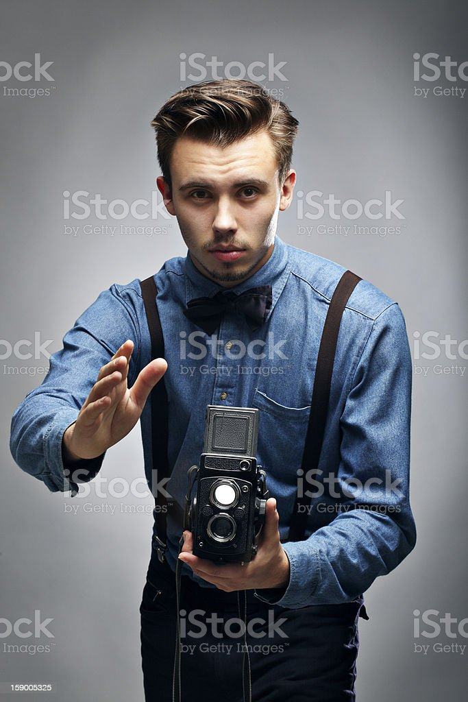 Photographer giving instructions royalty-free stock photo