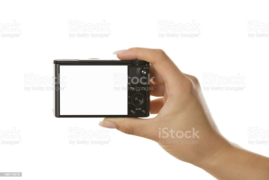 Photographer Holding a Camera stock photo