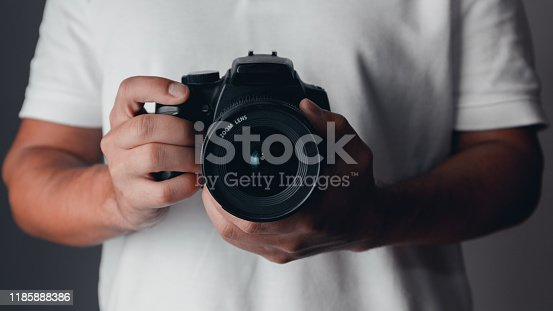 Camera isolated on white background with clipping path. Mirrorless camera isolated on white background. Clipping path for design and artwork.